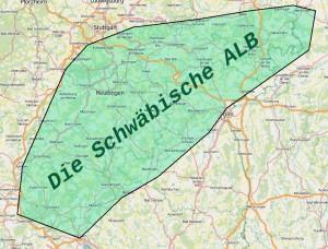 Karte der Schwäbischen Alb